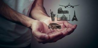 Drogowa wyspa z podróż przedmiotami s i Światowym ` Słynnymi Zdjęcie Stock
