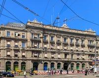 Drogowe pracy na Paradeplatz obciosują w Zurich, Szwajcaria Fotografia Royalty Free