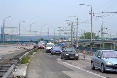 Drogowe pracy na Varna moscie Bułgaria Fotografia Stock