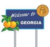 Drogowego znaka powitanie Gruzja royalty ilustracja