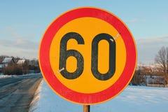 Drogowego znaka prędkości ograniczenie 60 Obrazy Royalty Free