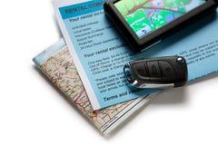 Drogowej mapy i samochodu klucz Zdjęcie Royalty Free