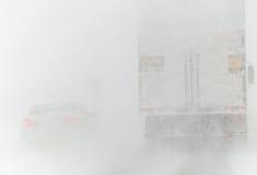 Drogowi warunki - Nor ` Easter zimy burza 3-14-2017 Zdjęcia Stock