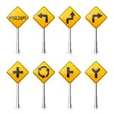 Drogowi znaki inkasowi na białym tle Drogowego ruchu drogowego kontrola Pasa ruchu użycie Przerwa i fedrunek Wykonawczy znaki Fotografia Stock