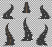 Drogowy ikony footpath chylenie i wysocy sposoby Droga wygina się geometrycznego projekta wektoru ilustrację ilustracja wektor
