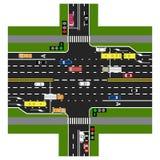 Drogowy infographics Autostrada przecina z drogą Z światłami ruchu i samochodami Zielony sygnał główna droga ilustracja wektor