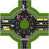 Drogowy infographics Drogowa wymiana, ronda Ja pokazuje ruchu samochody royalty ilustracja