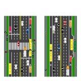 Drogowy infographics Fabuły droga, autostrada, ulica skrzyżowanie Z różnymi samochodami royalty ilustracja
