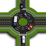 Drogowy infographics Odgórnego widoku 3d perspektywa Drogowa wymiana, ronda To pokazuje ruchu samochody chodniczki Zdjęcia Royalty Free