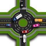 Drogowy infographics Odgórny widok 3d Drogowa wymiana, ronda To pokazuje ruchu samochody Chodniczki i skrzyżowania Zdjęcie Stock