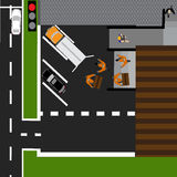 Drogowy infographics Wystawiający towary rozładowywający w sklepie Droga, samochody, dostawa ilustracji