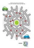 Drogowy labirynt z zielonymi i błękitnymi samochodami ilustracja wektor