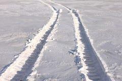 drogowy ślad toczy zima Obrazy Stock