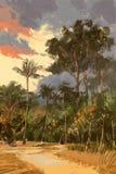 Drogowy prowadzić tropikalny las royalty ilustracja