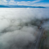 Drogowy ptasi ` s oka widok nad chmurami 02 Zdjęcia Royalty Free