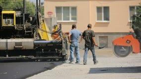 Drogowy rolownik Pracuje Na drodze zdjęcie wideo