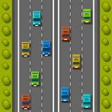 Drogowy samochodu tło, ruchu drogowego dżem na drodze, Drogowy transport, Wektorowy tło ilustracji