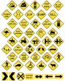 drogowy setu znaka ostrzeżenie Obrazy Stock