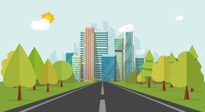 Drogowy sposób miasto budynki na horyzont wektorowej ilustraci, autostrada pejzażu miejskiego mieszkania styl royalty ilustracja