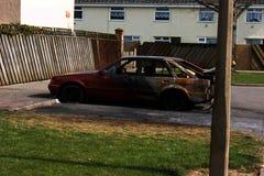 Drogowy wypadek uliczny, samochodu ogień obraz royalty free