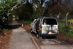 Drogowy wypadek uliczny, samochodu ogień fotografia stock