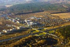 Drogowy złącze na autostradzie, widok z lotu ptaka, Rosja Fotografia Royalty Free