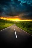 drogowy zmierzch Fotografia Royalty Free