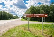 Drogowy znak geograficzny centre Europa Obraz Stock