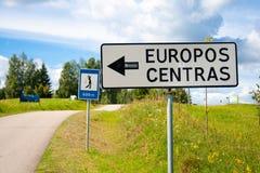Drogowy znak geograficzny centre Europa Obraz Royalty Free