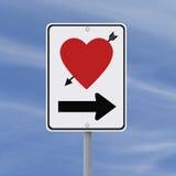 Drogowy znak na miłości Fotografia Royalty Free
