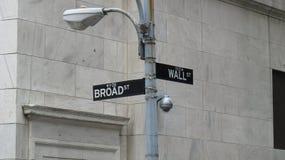 Drogowy znak przy kątem Ścienne i Szerokie ulicy w Nowy Jork Fotografia Royalty Free