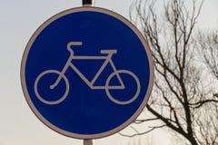 Drogowy znak - rower ścieżka Obrazy Royalty Free