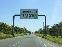 Drogowy znak Tabasco Meksyk zdjęcia stock