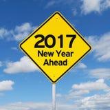 Drogowy znak w kierunku nowego roku 2017 Zdjęcia Stock