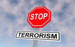 Drogowy znak z tekst przerwy terroryzmem Zdjęcia Stock