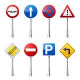 Drogowych znaków kolekcja odizolowywająca na białym tle Drogowego ruchu drogowego kontrola Pasa ruchu użycie Przerwa i fedrunek W Fotografia Royalty Free