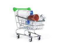 Drogue et pilule de médecine dans le caddie Photo stock