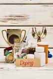 Drogues de trophée et de dopant image stock