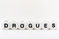 Drogues, dice letters Stock Images