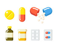 Drogues et icônes de pilules Photos stock