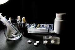 Drogues et pillules Photographie stock