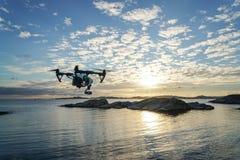 Drohnen-Sonnenuntergang lizenzfreie stockbilder