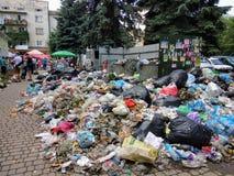 Drohobych Ukraina, Czerwiec, - 09, 2018: Zanieczyszczenie problem śmieciarski usuwanie zagrożenie katastrofa w postaci epid Obrazy Royalty Free