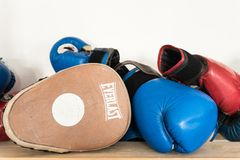 Drohobych, Ukraine - March 03, 2018: Everlast focus punch pad and boxing gloves, for editorial use. Everlast focus punch pad and boxing gloves, sports lifestyle stock photos