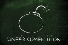 Drohung des unlauteren Wettbewerbs, lustige Bombenmetapher Stockbild