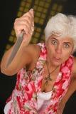 Drohung mit Messer stockfotos