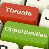 Drohungen und Gelegenheits-Computer-Tasten Stockbild