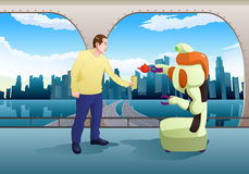 Droid机器人对人的服务饮料驻地室背景的 库存图片