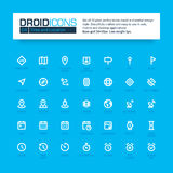 DROID ICONS. Set of 35 flat line art  icons. Stock Image