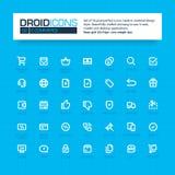 DROID-PICTOGRAMMEN Reeks van 35 vlakke pictogrammen van de lijnkunst Stock Fotografie